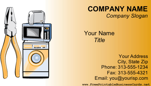 Appliance repair business card for Appliance repair business cards