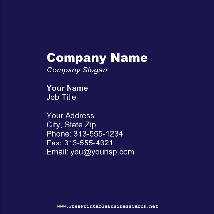 Dark Blue Square business card