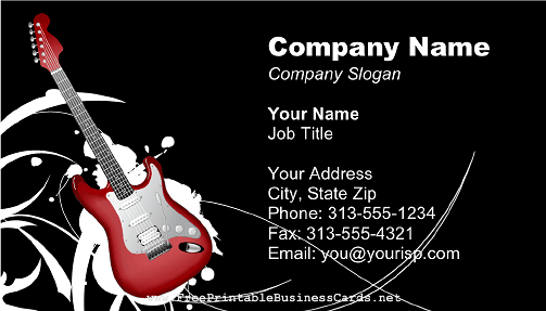 Free business card template guitar choice image card design and free business card templates guitar choice image card design and free business card template musician image reheart Image collections