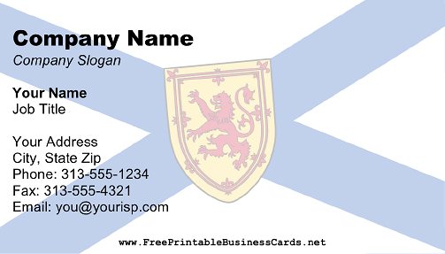 Flag of Nova Scotia business card
