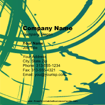 Teal On Yellow Square business card