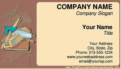 Sample business cards for builders top game construction business card for sample business cards for builders reheart Images